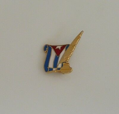vtg Cuba Cuban flag w/ ink pen well tie lapel hat pin historical independence