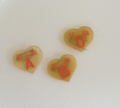 VTG RARE blood type heart pins O A B celluloid brooch lot Chinese Civil War WWII