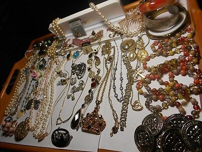 Mixed Lot Of Antique  Vintage Costume +Sterling+ Gold?jewelry