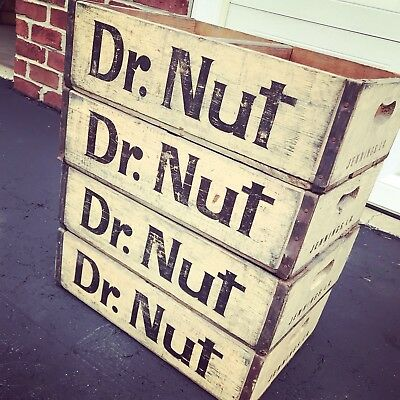 4 Very Rare Vintage Dr Nut Wood Soda Pop Crates Jennings LA