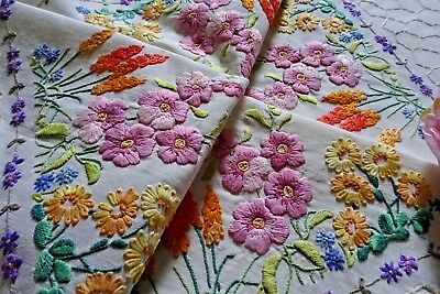 Beautiful Vintage Hand Embroidered Tablecloth ~ Wild Flowers