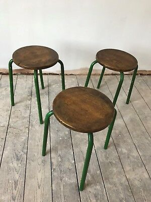 3 x Industrial Mid CenturyVintage StackingStools - wooden top