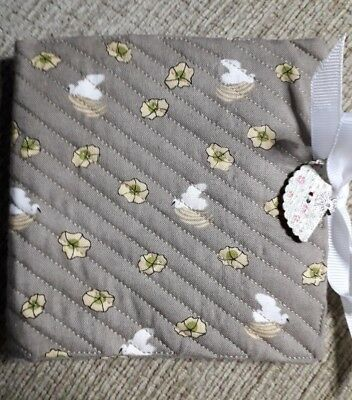 Quilted Handmade Needle Book Fawn yellow white crane stork wooden fan button