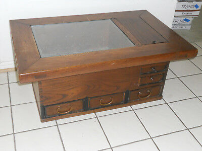 Antique 1900s Japanese Wood Naga Hibachi Brazier Copper Lined Coffee Table