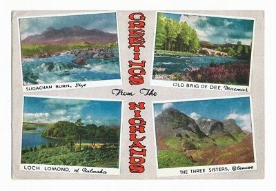 GREETINGS FROM THE HIGHLANDS, SCOTLAND, multiview postcard posted 1956