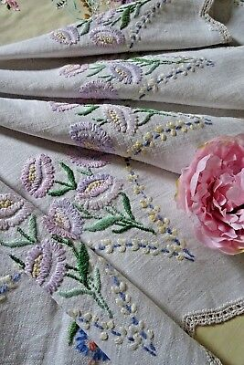 Vintage Hand Embroidered Tablecloth ~ Pastel Florals And Lace