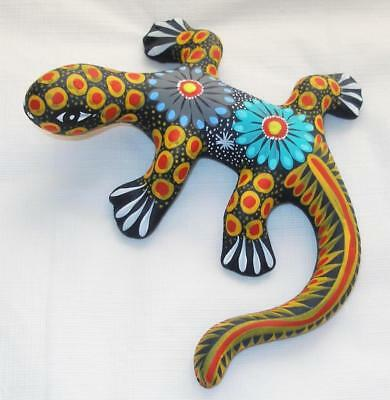 "Ceramic Clay Lizard Salamander Figurine Hand-painted Mexican Wall Art 6"" L21"