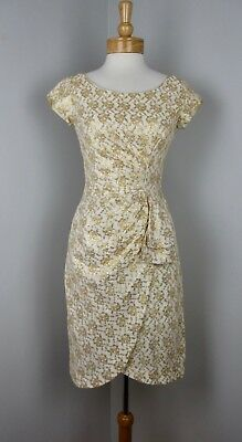 409869d79b VTG 50s 60s Glam Metallic Gold Brocade Side Drape Wiggle Cocktail Dress AS  IS S