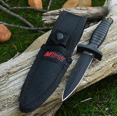 "MTech 7"" Tactical Double Edge 440 Stainless Boot Knife With Sheath MT-206BK"