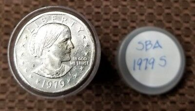 1979-S - Roll of 25 Susan B Anthony (SBA) $1 Dollar Coins in Tube