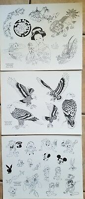vintage NOS production ed gulf coast 1989 tattoo flash (3) cartoon eagle asian