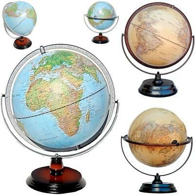 Easy View Raised Relief Topographical World Globe Gimbal Arm Home Decor 30x45 cm