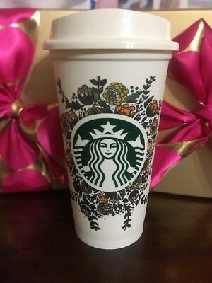 RARE Starbucks Reusable Fall Harvest Coffee Tea Recyclable Plastic Cup NEW