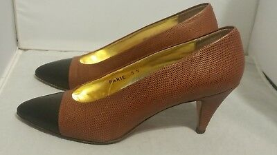 Vtg Bullocks Wilshire Brown Leather Pumps Heels Made In Italy Women's Size 8 N