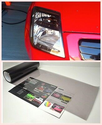 "Gloss Light Smoke Vinyl Film Tint 12"" x 39"" Headlight Taillight Fog Wrap Cover"