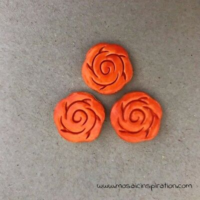CERAMIC ROSES x3 - 18mm diameter - Orange ~ Mosaic Inserts, Art, Craft Supplies