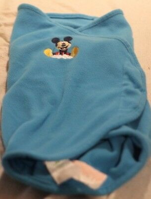 Disney Baby Infant Boy's Mickey Mouse Swaddle Blanket, Blue