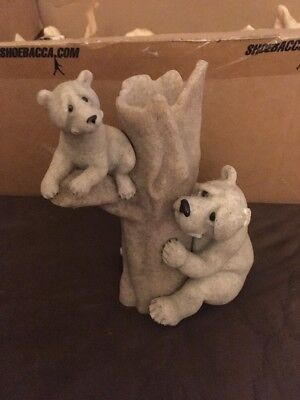 """Second Nature Quarry Critters Bear Blooms #45445 Mother Cub Vase 9"""" tall"""