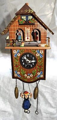 Togili Joh Kienzler Cuckoo Clock Souvenir Girl On Swing Weather Station