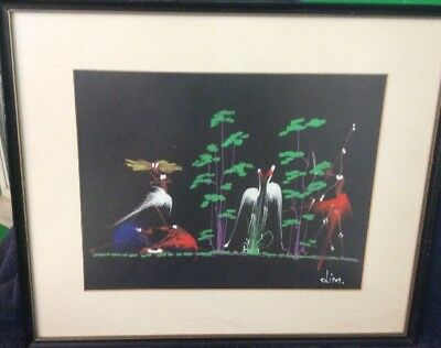 Original African Black Art Water Color Painting, Artist Signed . DIM, Framed,