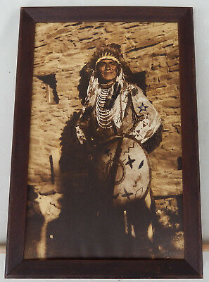 Vintage Framed. Color Tinted Photo of an Native American Indian Chief