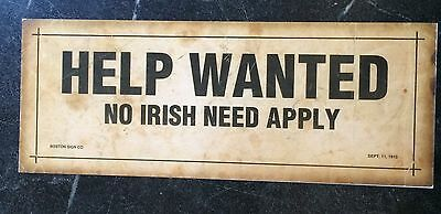 Help Wanted No Irish Need Apply Sign Reprint From Original Sign