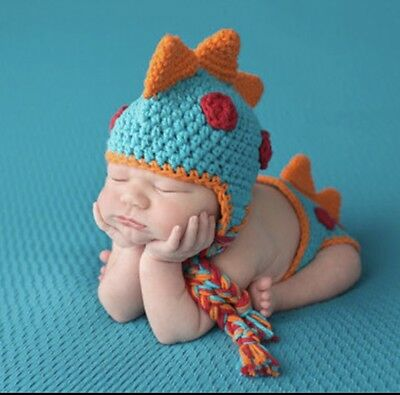 Dinosaur Outfit Crocheted Baby Newborn Photography Props Handmade Knitted Boy
