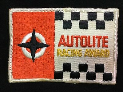 Vintage 1970's Sew On Embroidered Patch Autolite Spark Plugs Racing Award, Drag