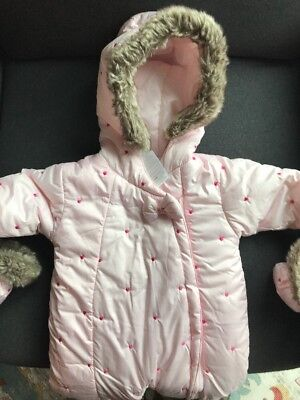 226324f98fbd ABSORBA BABY GIRL Hooded Zip Up Snowsuit Pink Size 6-9 Months ...