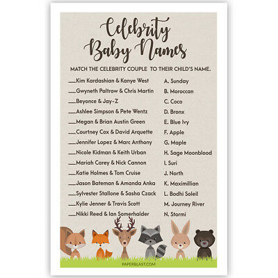 Woodland Creatures Baby Shower Game - Celebrity Baby Names - Set of 30