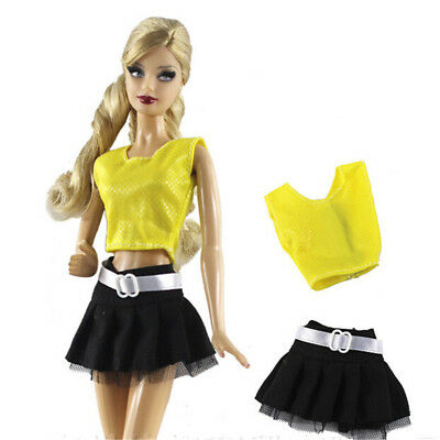 2Pcs/Set Handmade Doll Clothes Skirt For Barbie 1/6 Doll Party Daily ClothesSC