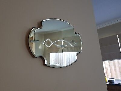 Vintage Beveled Ornate Shaped Wall Mirror With Lovely Centre Design Feature
