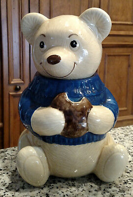 Vintage Metlox Teddy Bear Cookie Jar Blue Sweater