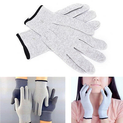 2Pcs Conductive Electrotherapy Massage Electrode Gloves Use For Tens Machine L2S