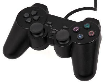 Black Fashion Dual Shock Wired Controller Joypad Gamepad for PS2 PlayStation 2