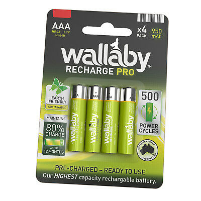 Size AAA Wallaby Rechargeable PRO Ni-MH 950mAh Batteries 4/8/32 FAST POST 4 Pack