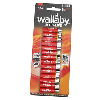 Size AAA Wallaby Ultralife Alkaline Batteries 14/28/56/140 Qty FAST POST 14 Pack