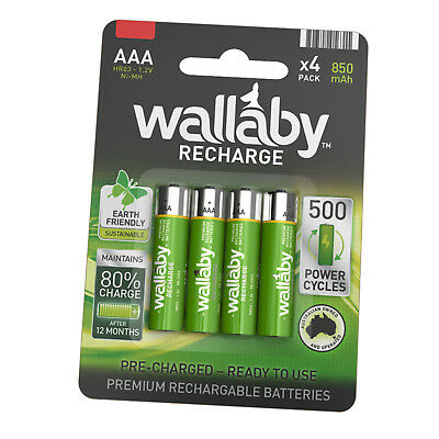 Size AAA Wallaby Rechargeable Ni-MH 850mAh Batteries 4/8/32 AUS FAST POST 4 Pack
