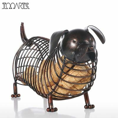 Metal Animal Figurines Dachshund Wine Cork Container Modern Artificial Iron Craf