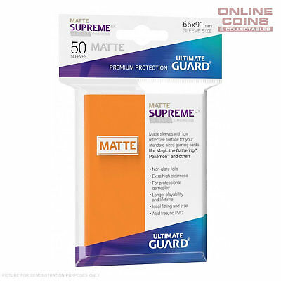Ultimate Guard SUPREME UX MATTE Standard Card Sleeves - ORANGE - Pack of 50