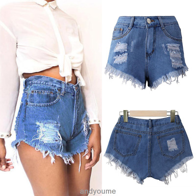 Ladies Vintage Ripped Womens High Waisted Denim Shorts Jeans Hot Pants UK 6-16
