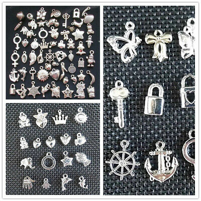 100pcs Wholesale Bulk Lots Silver Mix Plant animal Pendants Charms NEW