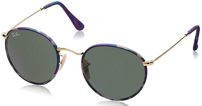 28ca450f99 Authentic RAY-BAN Round Metal Camo Gold Sunglasses RB 3447-JM - 172