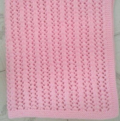 HAND KNIT PINK BABY BLANKET-lattice-28 X 28 in-NEW