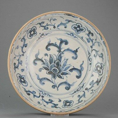 35CM 15/16C Ming Chinese Annamese Vietnamese Flowers Charger Porcelain S...