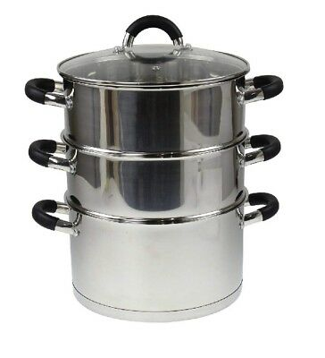 24cm Stainless Steel Steamer With Glass Lid Multi Food Cook Pot Pan Set 3 Tier