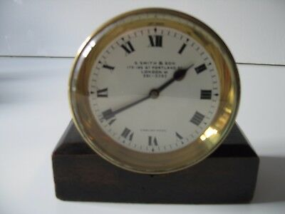 Vintage Brass Counter Clock in Ship's Clock Style - S Smith & Son of London