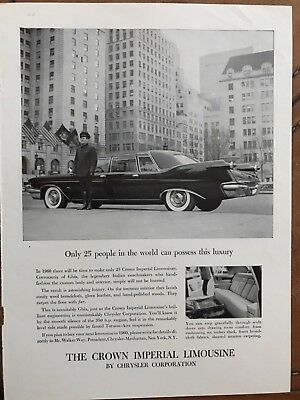 E 1960 The Crown Imperial Limousine Ad 11x8