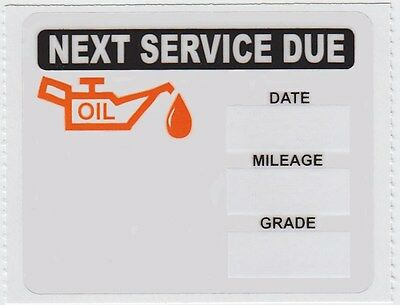 100 Static Cling Oil Change Stickers Decals * Free Shipping *  New