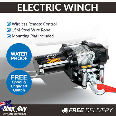 12V Electric Winch 4500LBS Wireless Remote Steel Cable 4WD ATV Boat Truck